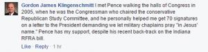 Klingenschmitt on GOP vice presidential candidate Pence