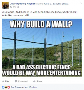 Reyher Facebook Post on Electric Fence